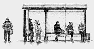 Persons on a bus stop Stock Images