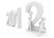 Persons with date 2012. 3d render: persons with date 2012 Royalty Free Stock Photo