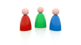 3 persons in different colors. An abstract picture of 3 persons in different colors facing each other Stock Images