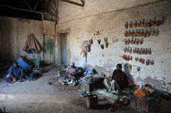 Persons with disabilities have organized a workshop for manufacturing of footwear of the tire Hargeisa Stock Photos