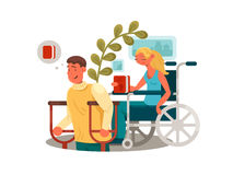Persons with disabilities. Man with crutches and woman in wheelchair. Vector illustration royalty free illustration