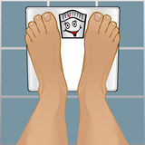 Persons Feet on Weighing Scale Stock Photos