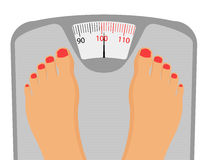 Persons Feet on Weighing Scale Stock Photo