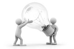 Persons holding the light bulb. 3d Persons holding the light bulb Stock Photos