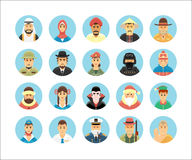 Persons icons collection. Icons set illustrating people occupations, lifestyles, nations. Royalty Free Stock Image
