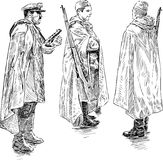 The persons in the military form of the Second World War. Vector sketch of the military of the Second World War Royalty Free Stock Images