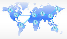 Persons in network on world map Royalty Free Stock Photo