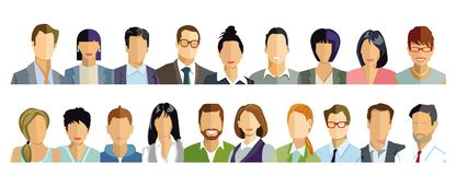 Persons portrait, faces illustration royalty free stock image