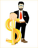 Persons with sign dollar Stock Photography