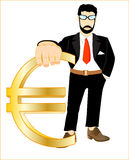 Persons with sign euro Stock Photos