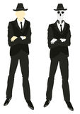 Persons and skeleton in suit and tie Royalty Free Stock Images