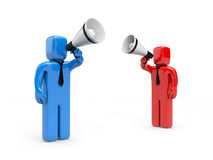 Persons speak in megaphone Stock Photography