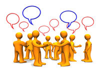 Persons with Talk Bubbles 3D Royalty Free Stock Image