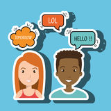 persons talk speech chat bubble Stock Photography