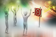 Persons with a target and arrows Royalty Free Stock Photos