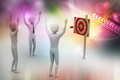 Persons with a target and arrows Stock Photo