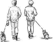 Persons with their pets Stock Images