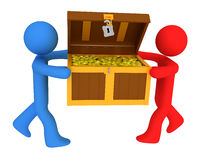 Persons with treasure chest Royalty Free Stock Images