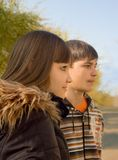 Persons of two teenagers. A profile royalty free stock photography