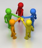 Persons United. Five different coloured 3D rendered figures in a circle join hands at the center as sign or teamwork and co-operation Stock Image