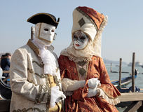 Persons in Venetian mask and romantic costumes, Carnival of Veni Stock Photos