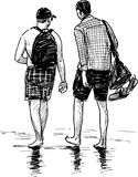 Persons walking at seashore. Vector drawing of the young men walking on the beach Royalty Free Stock Photography