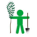 Persons Will Put Tree. Green symbolic person with dustpan will put tree Royalty Free Stock Photography