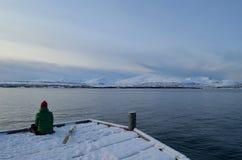 Personsammanträde på den snöig pir med skiis som ut ser över den blåa fjorden Arkivbild