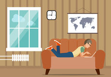 Persoon bij de computer in een huissituatie een illustratie Stock Afbeelding
