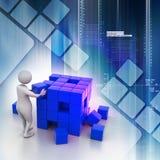 Persoon die een kubus duwen Stock Fotografie