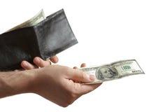 Persoon die een rekening 100$ overhandigt Royalty-vrije Stock Foto