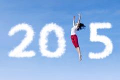 Persoon die en nummer 2015 vormen dansen Royalty-vrije Stock Fotografie
