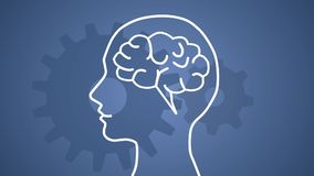 Persoon die gelukkig na hersenen die beginnen te werken worden royalty-vrije illustratie
