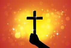 Persoon die heilig dwars, christelijk godsdienstig symbool houden, ter beschikking royalty-vrije illustratie