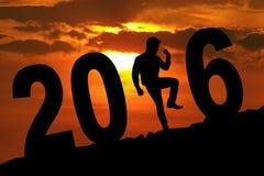 Persoon die nieuw jaar met het aantal van 2016 vieren Stock Foto's