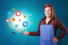 Persoon die sociaal media concept in wok koken royalty-vrije illustratie