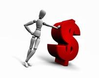 Persoon die tegen het Rode Symbool van de Dollar van $ leunt Royalty-vrije Stock Afbeelding