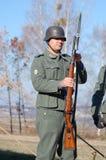 Persoon in Duitse WW2 militaire eenvormig. Stock Afbeelding
