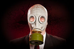 Persoon in een gasmasker Royalty-vrije Stock Foto's