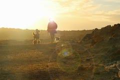 Persoon het lopen honden bij schemer met lensgloed Royalty-vrije Stock Fotografie