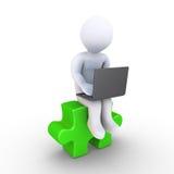 Persoon met computer als oplossing Stock Afbeeldingen