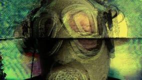 Persoon met de technologie van de gasmaskeroorlog stock videobeelden