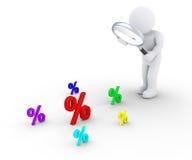 Persoon met het meer magnifier zoeken naar grotere korting Stock Fotografie
