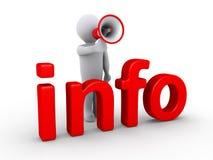 Persoon met megafoon achter info Stock Foto