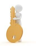 Persoon met sleutel Stock Foto