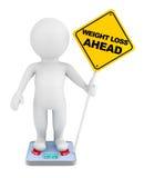 Persoon over gewichtsschaal Stock Afbeeldingen