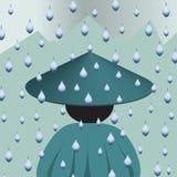 Persoon van de rug in de regen wordt gedraaid die melancholic stock illustratie