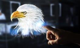 Persoon wat betreft fractal bedreigde 3D renderi van de adelaarsillustratie Stock Afbeeldingen