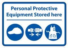 Persoonlijk beschermingsmiddel ( PPE) Hier opgeslagen isoleer op Witte Achtergrond, Vectorillustratie EPS 10 royalty-vrije illustratie