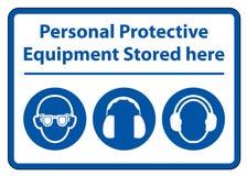 Persoonlijk beschermingsmiddel ( PPE) Hier opgeslagen isoleer op Witte Achtergrond, Vectorillustratie EPS 10 vector illustratie